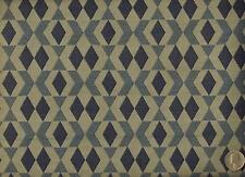 Mid Century Modern Geometric Diamond Harlequin Blues Taupe Upholstery Fabric