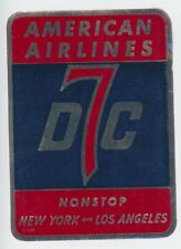 1950s American Airlines Luggage Label Vintage Douglas DC7 New York Los Angeles