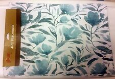 """SET OF 4 LINEN FABRIC PLACEMATS 12"""" x 18"""" FLOWERS by Home Extras"""
