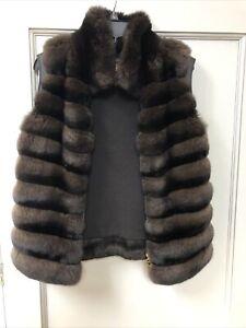 Loro Piana Brown Cashmere And Chinchilla Fur Vest sz40
