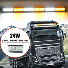 "27"" 24 LED Waterproof Traffic Advisor Strobe Flash Light Warning Bar White/Amber"