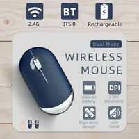 2.4GHz Wireless Cordless Mouse Optical Scroll Bluetooth 5.0 + USB Mice Slim DPI