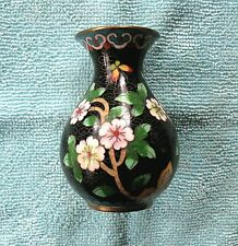 """Vtg. Miniature Chinese Cloisonne Vase with Flowers -- 3"""" Tall -- Excellent Cond."""