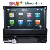 "Single 1 DIN 7"" HD Car CD DVD Player GPS SAT NAV Bluetooth Stereo Radio RDS DAB+"