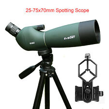 25-75x70mm Angled Zoom Spotting Scope Waterproof+Tripod+Cell Phone Mount Adapter