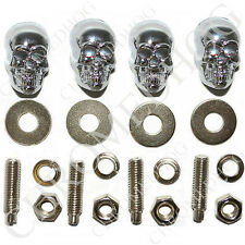 METAL - 4 Chrome Skull License Plate Frame Bolts for Harley Motorcycle Chopper