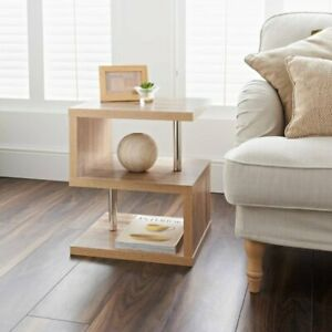 Solid Oak wood hamton 3 tier Side Table for Living room Home decor Steal tubing