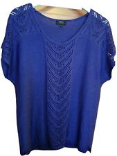 Lovely Papaya Classic Knitted Top With Crochet Effect To Front. Size 18.Blue