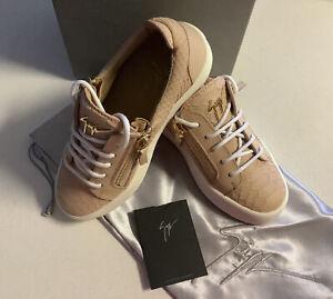 Giuseppe Zanotti Leather Croc Double Zip sneaker Rose Pink 35 (BNIB) RRP$1005