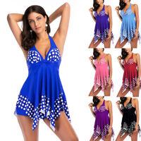 Plus Size Women Polka Dot Tankini Swimdress Two Pieces Push Up Swimwear Swimsuit