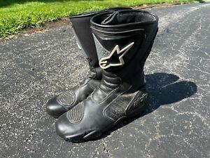 Alpinestars Leather Racing Motorcycle Boots Black Mens Waterproof EU 46 12 US