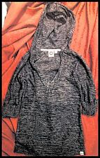 ROXY Wild At Heart Grey Marl 3/4 Sleeves V-Neck Hoodie Sweater Sweatshirt Size M