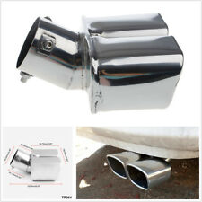 "2.4""Stainless Steel 1to2 Dual Chrome Pipe Car SUV Exhaust Pipe Muffler Tip Cover"