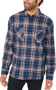 New 2019 Dakine Men's Franklin Flannel L/S Shirt Large Midnight / Picante Plaid