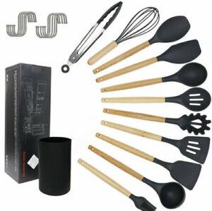 Luxury Kitchen Utensil Sets - 12 Pieces - Wooden Black