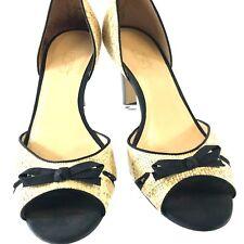 Ann Taylor Women's Shoes Open Toe Pumps Woven Leather Uppers Soles 9m Brazil Tan