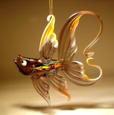 Blown Glass Figurine Art Hanging Purple & Peach FISH with Arched Tail Ornament
