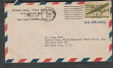 June 7 1945 WWII cover Warner Brothers San Juan Puerto Rico to John Dodd NY
