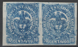 Colombia 1886 Tolima Sc. 48A 10c blue imperf. Pair MNG