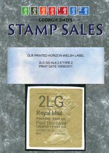 15/08/2011 DLR 2nd Large Letter DG HL6.2.5 TYPE 2 WELSH PRINTED HORIZON LABEL