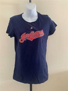 New Cleveland Indians #33 Nick Swisher Womens Size M Blue Majestic Shirt