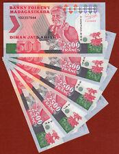 MADAGASCAR Lot of 5 pieces X 2500 Francs  Banknote 1993 UNC!!! Consecutive Numb