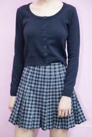 brandy melville navy blue crop scoopneck zelly sweater cardigan NWT sz S