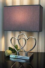 Lampe Nachttischlampe Leuchte silber grau Herz Tischlampe Tischleuchte Chrom