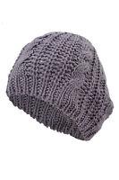 femmes Beret Baggy Beanie Crochet Tricet Hiver chaud en laine Chapeau Ski Cap WT
