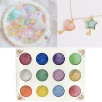 12PCS Colors Mica Pigment Powder Metal Sparkle Shimmer CL Paint-Grit-Cry K5Q5