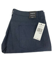 Kenneth Cole Mens Straight Flat Front Cotton Blend Blue Casual Pants Size 36X32