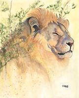 """Original artwork watercolor painting lion portrait on paper, wildlife 8×10"""""""