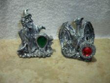 Wizard And Dragon Resin Figurines Set Of 2 D & D Fantasy Magic