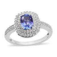 925 Sterling Silver Platinum Over Blue Tanzanite Sapphire Halo Ring Ct 1.4