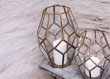 Brass & Glass Lantern. Geometric Terrarium Planter or Candle Holder Mohani Nkuku
