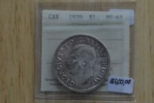 1939 Canadian  Silver Dollar  -  ICCS Graded  -  MS-65
