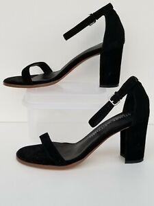 Stuart Weitzman NearlyNude Ankle Strap Sandal Black Suede Size 5.5 -6 / eu 36