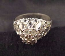 Unusual Style Vintage Clear Rhinestone Cluster Open Work Ring Silver Tone Size 9