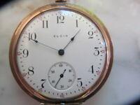 U.S.A 1910 Antique Elgin Pocket Watch 7 jewels, Gold filled, hunter, runs great