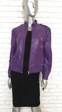 Alice + Olivia Purple Leather Biker Jacket Women's Size Medium Moto Scoop
