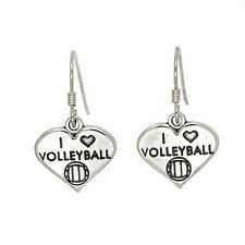 STERLING SILVER I LOVE VOLLEYBALL EARRINGS