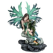 "Green Fairy On Rock With Dragon Figurine Statue 12.25""H Detailed Resin New"