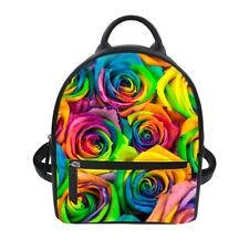 Rose Printed Women's Fashion PU Leather Travel Shoulder Backpack Rucksack Bags