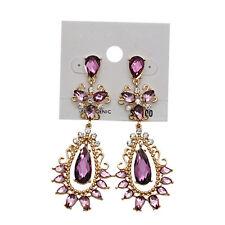 Shiny Crystal Rhinestone Teardrop Dangle Purple Earrings Free Shipping