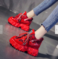 Women Patent Leather Fashion Sneakers Platform Wedge Ankle Boots Creepers cool
