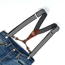 Unisex Suspenders Men Women Adjustable Braces Clip-on Black White Stripes BD619