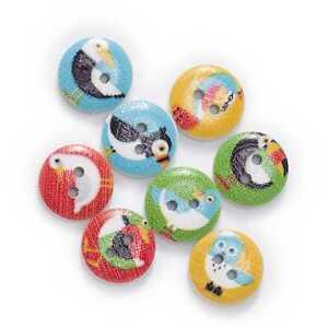 50pcs Bird Theme Printing Wooden Buttons Scrapbook Sewing Handwork Decor 15mm