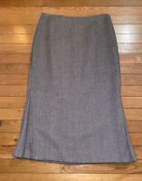 Vintage J CREW Women's A-Line Skirt Sz 4 Lined 100% Wool Herringbone Brown Ivory