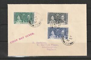 Gibraltar 1937 Coronation FDC, Plain, Typed address