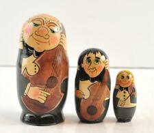 """3 Piece Russian Musician Nesting Doll Collectible 5"""" Hand Painted Made In Russia"""